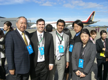 Rockwell Collins employees witnessing the historic MRJ first flight were (from left) Dave Oiwa, Nicholas Stout, Sudhanwa Kholgade, Chizuru Sakamoto and Hiroko Saito.